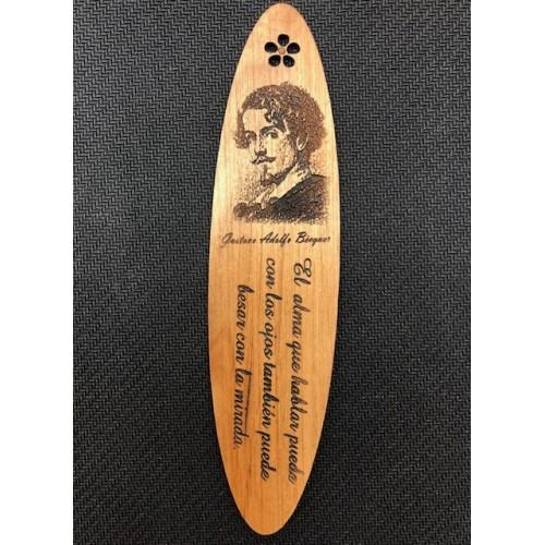 Marcapáginas madera Gustavo Adolfo Bécquer