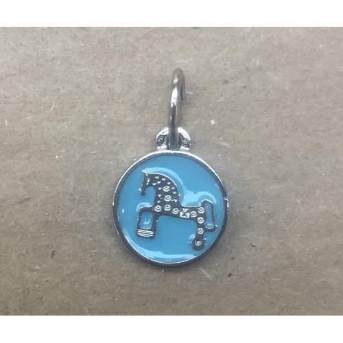 Mini colgante Caballo de Soria. Esmalte azul. 1.2 cm diametro