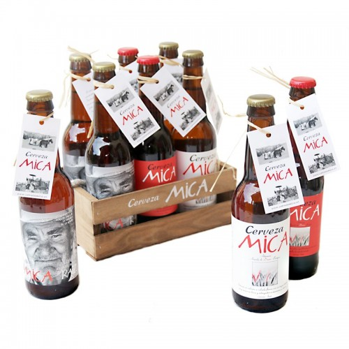 Pack 6 cervezas Mica en cesta de madera