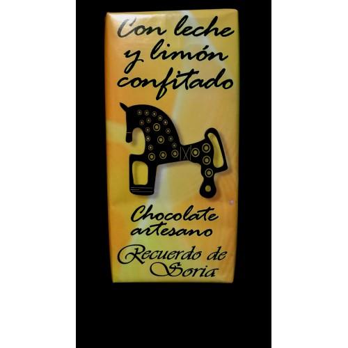 Chocolate con leche y limón confitado