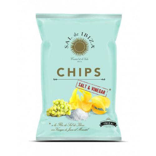 Patatas chips sal de Ibiza con vinagre. Bolsa 125 gr