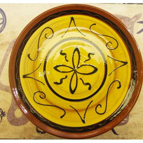Plato  con flor cerámica artesanal decorado 1