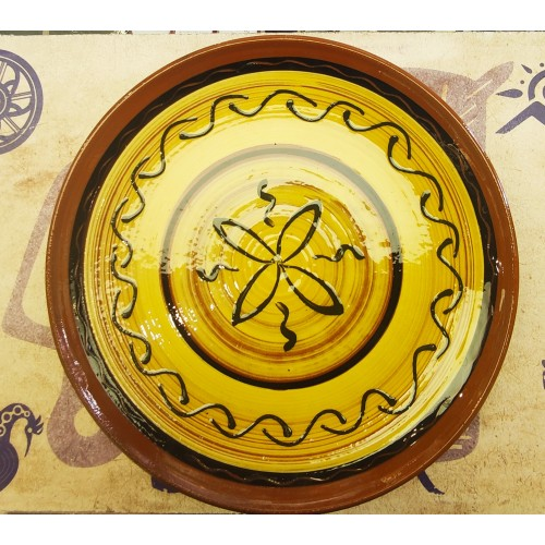 Plato  con flor cerámica artesanal decorado 2