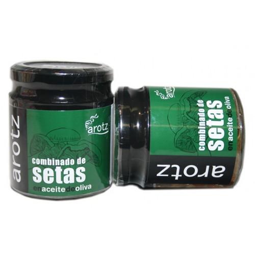 Tarro combinado de setas en aceite de oliva