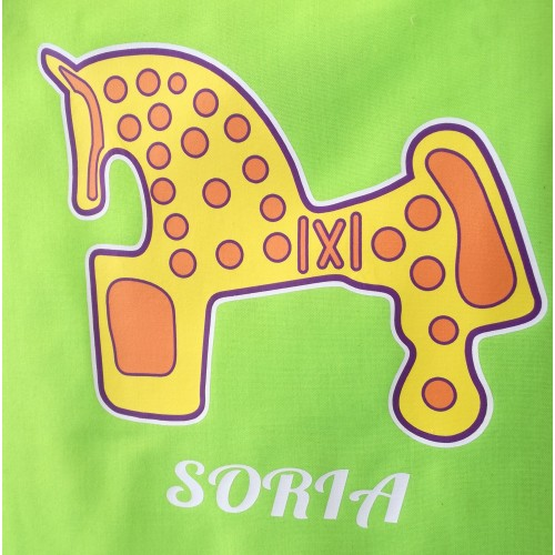 Delantal verde con caballo de Soria