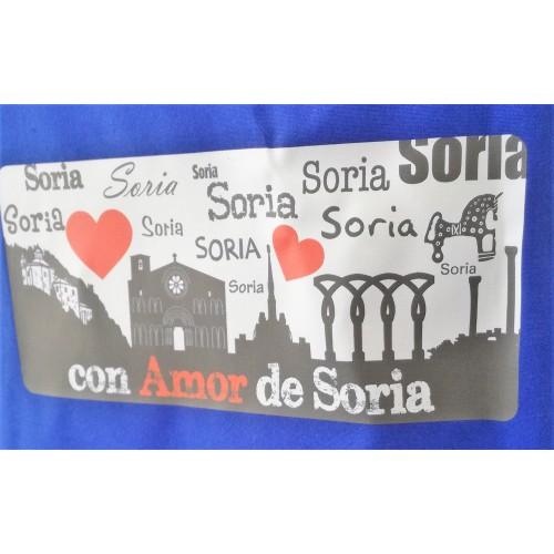 Delantal azul con detalle de con amor de Soria