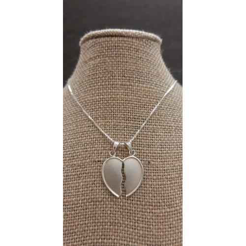 Colgante corazón partido grande y cadena de plata